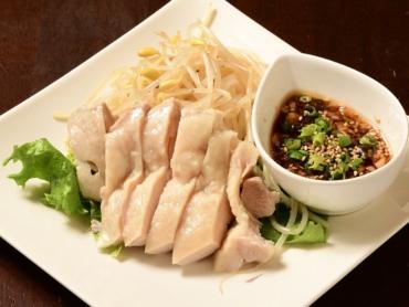 冷製茹で鶏と豆もやしのたっぷりネギソース
